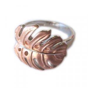 Hawaiian Monstera Leaf Rose Gold Finish Sterling Silver Ring