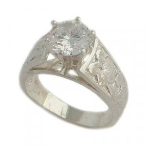 2.0 ct CZ French Mount Hawaiian Silver Engagement Ring