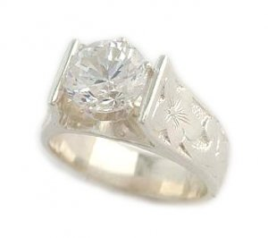 1.5 ct CZ French Mount Silver Hawaiian Heirloom Jewelry Ring