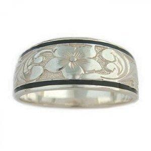 8mm Hawaiian Jewelry Black Border Sterling Silver Ring