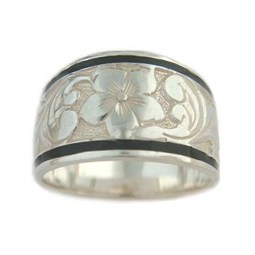 12mm Hawaiian Jewelry Black Border Sterling Silver Ring