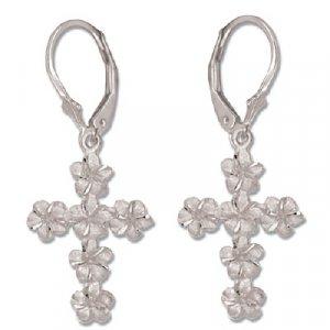 Plumeria Flower Cross 14K White Gold Lever Back Earrings
