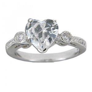 1.5 ct CZ Heart Silver Hawaiian Heirloom Engagement Ring