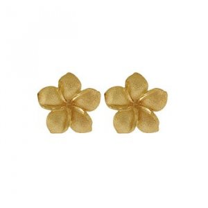 Plumeria Flower 14K Yellow Gold Small Hawaiian Stud Earrings