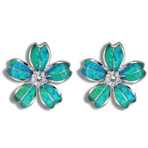 Hawaiian Plumera Flower Blue Opal Silver Stud Earrings