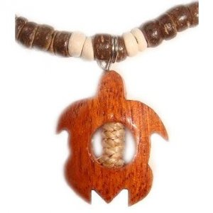 Hawaiian Koa Wood Turtle Dark Brown Coconut Necklace