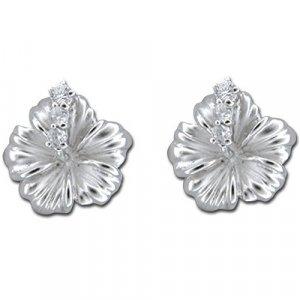 Hawaiian Hibiscus Flower Sterling Silver Stud CZ Earrings