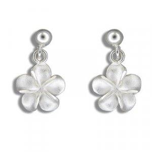 Hawaiian Plumeria Flower Dangling Sterling Silver Earrings
