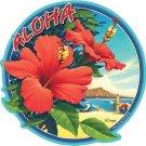 Hawaiian Hibiscus Flower Car Window Decal Bumper Sticker
