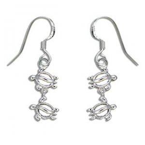 Hawaiian Jewelry Honu Turtle Sterling Silver Earrings