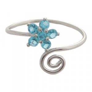 Hawaiian Jewelry Silver Blue Plumeria Flower CZ Toe Ring