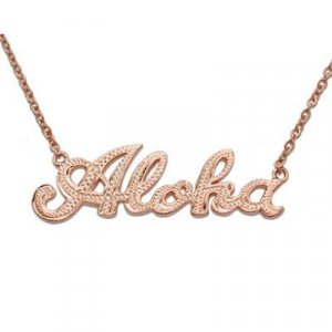 Hawaiian Jewelry Silver Rose Gold Finish Aloha Pendant
