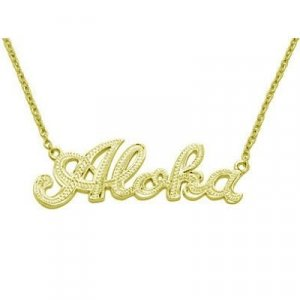 Hawaiian Jewelry Silver With 14k Gold Finish Aloha Pendant