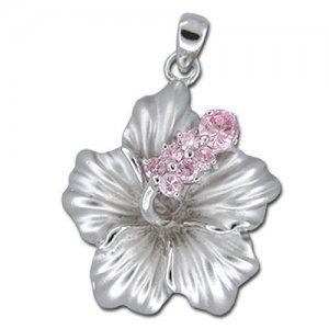 Hawaiian Jewelry Silver Hibiscus Flower Pink CZ Pendant