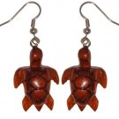 Hawaiian Koa Wood Honu Sea Turtle Hawaii Earrings