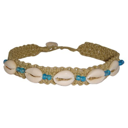 Hawaiian Cowry Shell Double Blue Bead Hemp Anklet