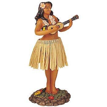 Hawaiian Leilani Hula Girl With Ukulele and Brown Skirt Dashboard Doll
