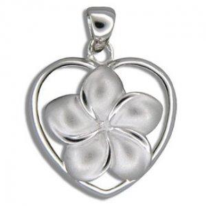 Hawaiian Jewelry Small Silver Plumeria Flower Heart Pendant