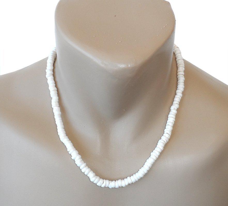 """Hawaiian 20"""" Small Puka Shell Necklace with Koa Wood Accents"""