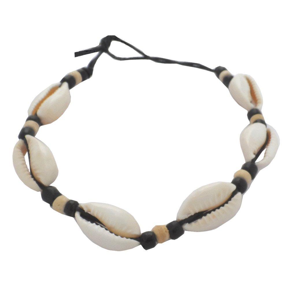 Hawaiian Cowry Shell Black Cord With Bead Hawaii Bracelet / Anklet