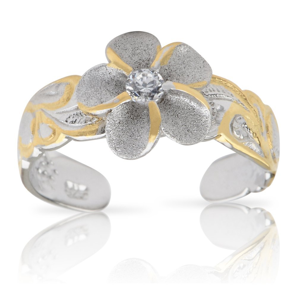 Hawaiian Jewelry Silver and Gold Plumeria Flower Toe Ring