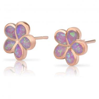 Sterling Silver Synthetic Pink Opal Hawaiian Plumeria Flower Earrings