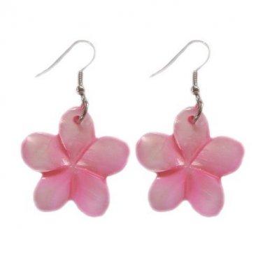 Hawaiian Pink Plumeria Flower Shell Pierce Earrings
