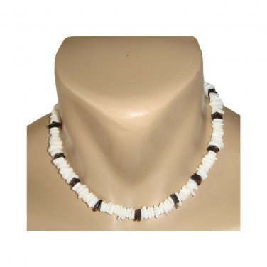 Hawaiian Jewelry Black and White Chip Puka Shell Necklace from Hawaii - 18""