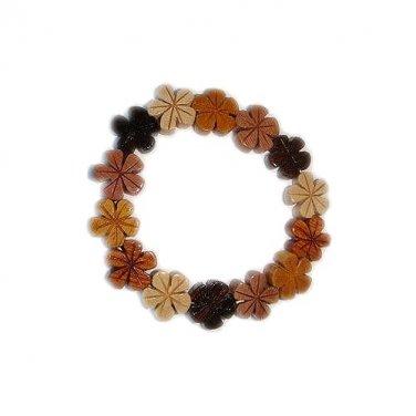Hawaiian Koa and Mahogany Wood Plumeria Flower Elastic Bracelet