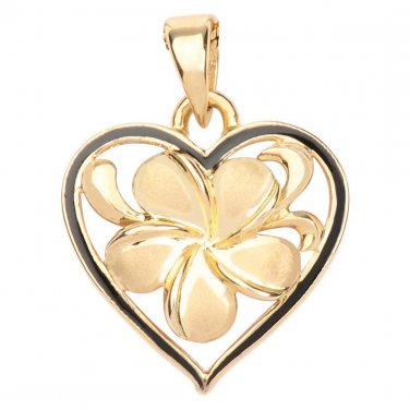 Hawaiian Heirloom Jewelry 14k Gold Plumeria Black Enamel Heart Pendant