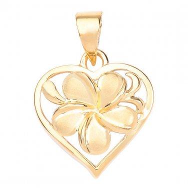 Hawaiian Heirloom Jewelry 14k Gold Plumeria Heart Pendant