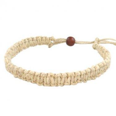 Hawaiian Hemp Handmade Bracelet/Anklet with Koa Wood Bead from Hawaii