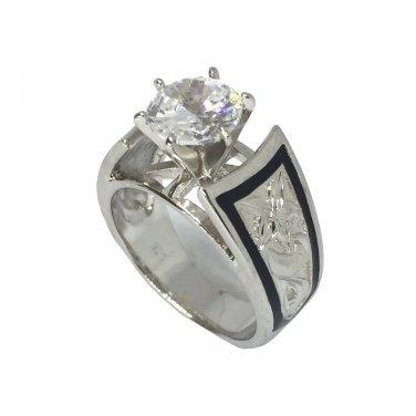 1.5 ct CZ French Mount Silver Hawaiian Heirloom Jewelry Wedding Ring
