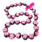 """Hawaiian Jewelry Pink Hibiscus Painted Flower Kukui Nut Shell 32"""" Necklace"""