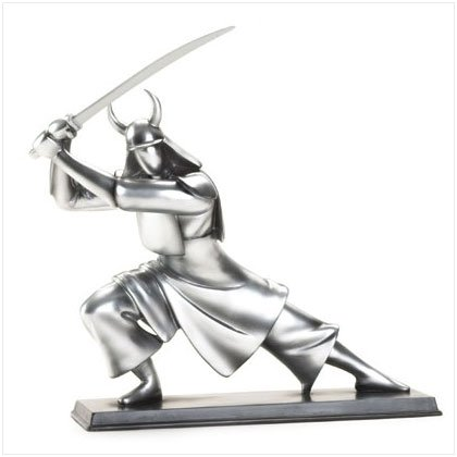 Pewter Colored Samurai Sculpture
