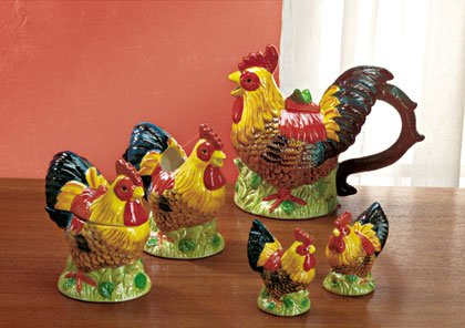 7 Piece Rooster Tea Set