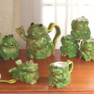 10 Piece Frog Tea Set