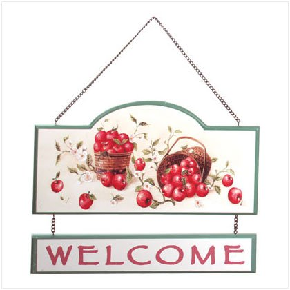 """Wooden Apple """"Welcome"""" Sign"""