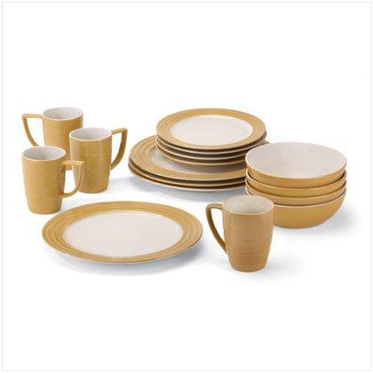 16 Piece Tan Dinnerware Set