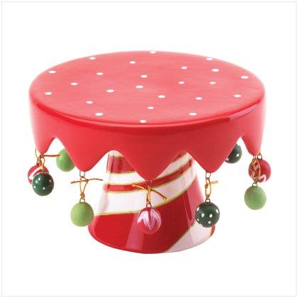 Striped Base Christmas Mini Pedestal/Cake Stand