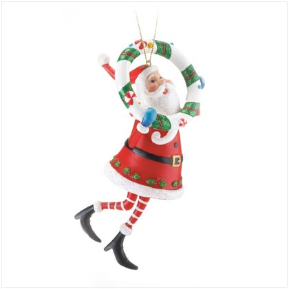 Santa With Wreath Ornament