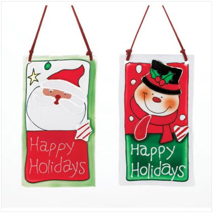 Santa And Snowman Hanging Christmas Plaques
