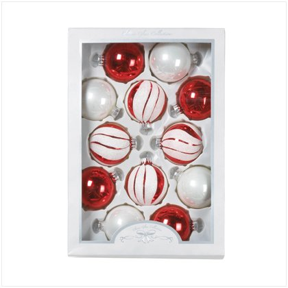 Set of 12 Red & White Glass Ornaments