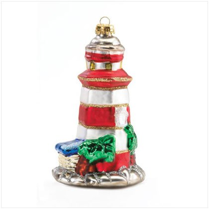 Lighthouse Mercury Glass Ornament