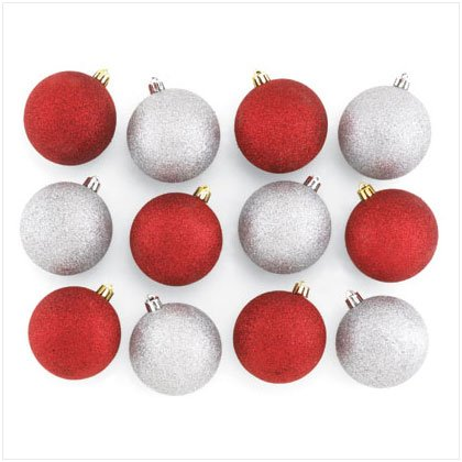 Red & Silver Ball Ornaments- Set of 12