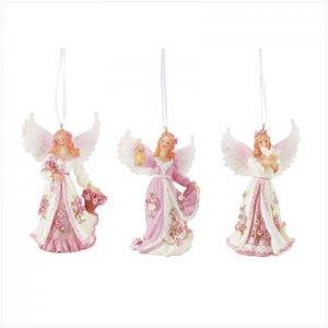 Pink Angel Ornaments - Set of 3
