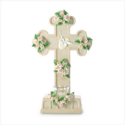 Rose Laden Cross Candleholder