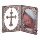"Pewter 3 1/2"" x 5"" Photo Frame w/ Cross Pendant"
