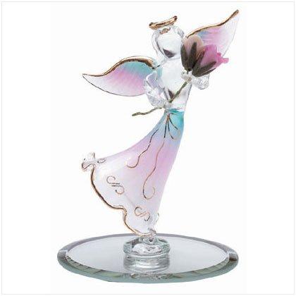 Glass Angel Holding Rose