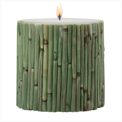 Bamboo-Wrapped Pillar Candle